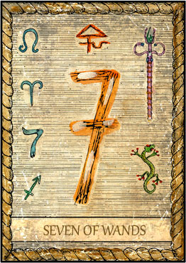 Tarot Card - 7 of Wands